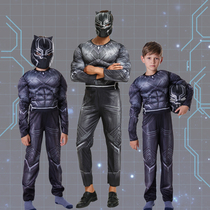 Halloween costume children adult Black Panther clothes Marvel Heroes Avengers cosplay Black Panther clothes parent-child