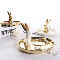 Nordic wind ceramic jewelry display tray gold rabbit storage tray shooting props bedroom small ornaments ornaments