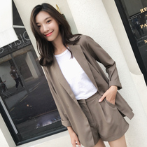South Korea thin section small suit shorts female spring and autumn 2019 new British style summer casual wear two-piece suit