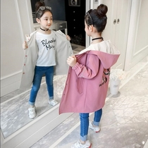 2019 new Korean version of the girls in the long section of the windbreaker wear both sides of the jacket spring and autumn in the big boy princess coat tide