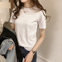 2019 summer new cotton T-shirt womens short sleeves slim Korean version of the flat color inside hit bottom shirt top