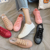 Fashion student rain boots female short tube Summer Rain Boots cute waterproof white shoes non-slip flat casual water shoes shoes