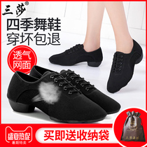 Three Saladin dance shoes teacher shoes adult ladies soft bottom high heeled Marine Square friendship dance dance shoes male