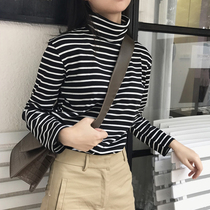 High-necked striped t-shirt female long-sleeved loose autumn and winter Korean shirt cotton wild Slim Plus velvet bottoming shirt female
