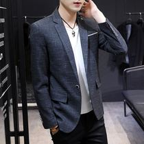Suit mens jacket casual small suit male slim youth handsome Korean mens spring plaid single west trend