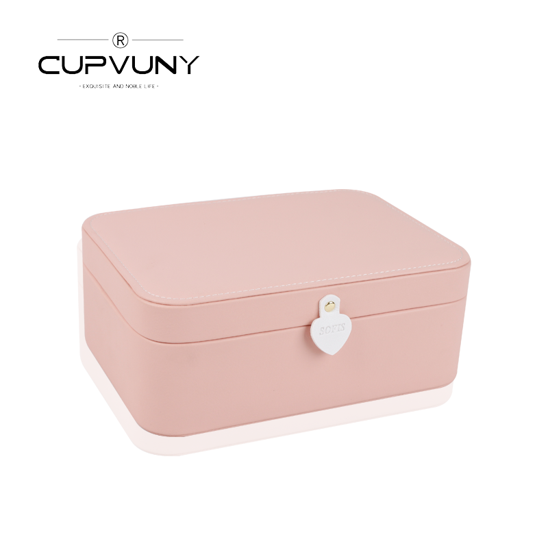 CUPVUNY double-layer jewelry box jewelry collection box Korean-style European princess jewelry box ins wind honey gift girl.