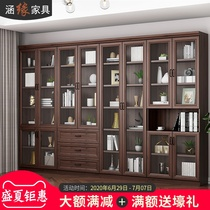 Culvertic Nordic deep walnut-colored bookcase floor-to-ceiling with door door large bookcase file cabinet multi-function locker customization