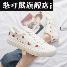 Canvas shoes women 2020 spring and summer new avocado strawberry sein line hand-painted shoes students Korean version of the tide board
