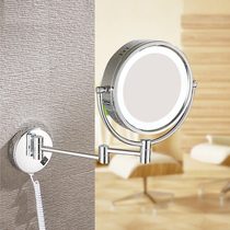 LED makeup mirror with lamp 10x enlarged bathroom retractable folding double-sided dressing mirror.