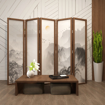 Screen off the living room hotel office modern folding mobile solid wood Chinese Block home landscape painting folding screen