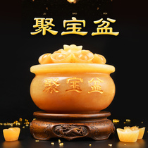 Yellow jade cornucopia ornaments Crystal beige Jade lucky gold feng shui mascot cashier relocation opening gifts