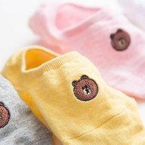 Boat socks female silicone non-slip shallow mouth bear invisible not fall with the spring and autumn cute deodorant cartoon socks cute Japanese