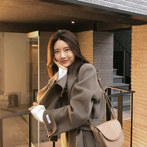 Double-sided cashmere coat female long section 2019 autumn and Winter new Korean fashion popular belt coat