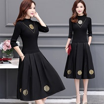 Noble temperament over the knee large size in the long section of the female spring wide 2019 Foreign style Taiwan spring and summer spring and autumn dress