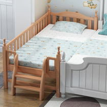 Solid wood childrens bed Boy single bed side widening stitching bed girl princess bed with fence bed crib