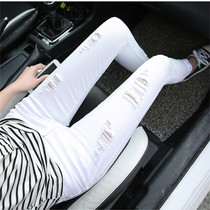 Tight hole white jeans women eight small bullet beggar hair side Korean version 9 points pencil pants tide.