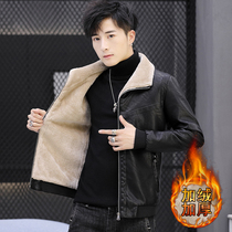 Winter mens leather padded thickened Korean version of the slim fit one male leather jacket handsome trend mens jacket