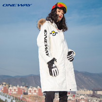 ONEWAY small yellow people Joint winter outdoor leisure sports cotton padded women hooded fleece long warm jacket