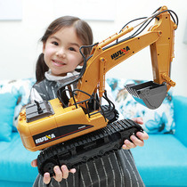 Oversized alloy] remote control excavator charging work truck wireless children excavator toy boy drop-resistant