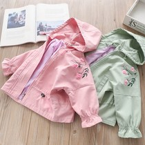 Foreign style ~ girls three-dimensional flower short paragraph waist windbreaker children baby bat sleeve hooded jacket 2019 spring and autumn