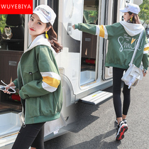 Coat female spring and autumn 2019 new Junior High School High School students Korean version of the early autumn clothes loose wild baseball uniform