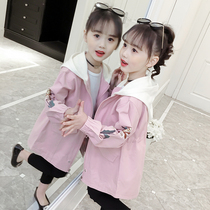 Girls coat spring 2019 New childrens windbreaker Princess Korean childrens clothing cotton coat long Girl autumn