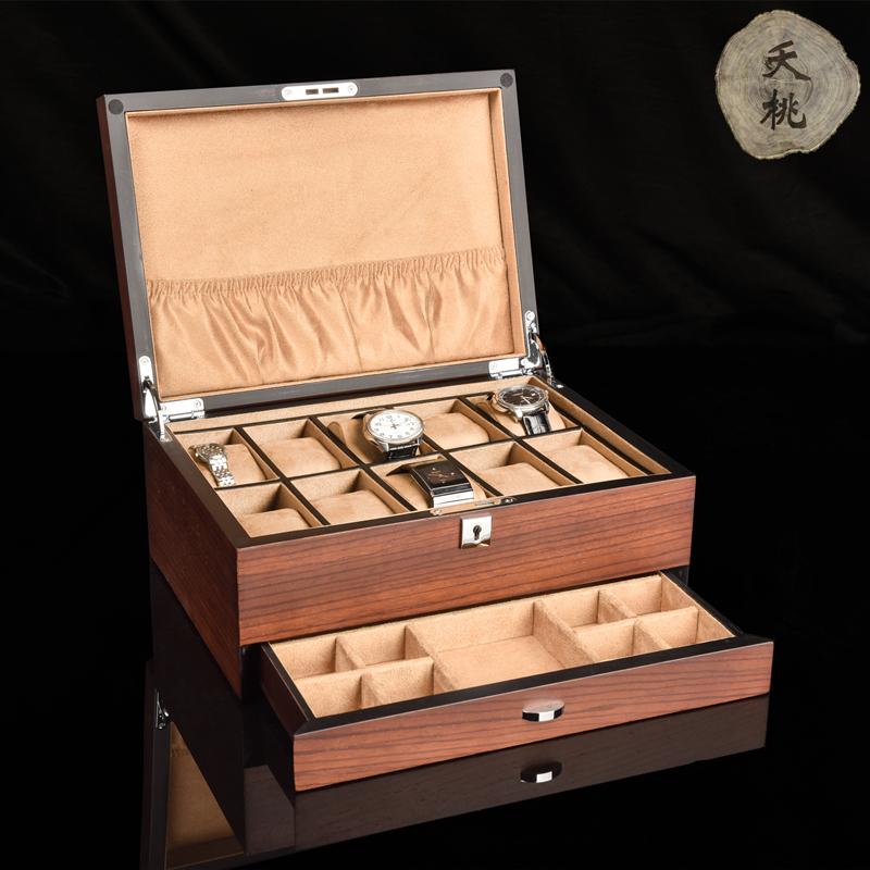 The dead peach ebony solid wood watch box wooden jewelry watch all-in-one collection box lock business holiday gifts.