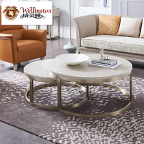 Wellington modern Light Luxury set a few American senior Gray large round a few simple beauty living room solid wood round coffee table N802-3