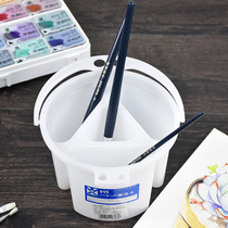 Japan imported cherry four grid art painting bucket watercolor painting special bucket sub-grid wash pen barrel rinse pen pot childrens color painting water bucket small portable multi-function