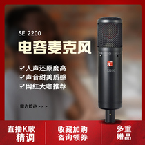 sE 2200 large diaphragm capacitive microphone professional recording studio network class live equipment sound card microphone full package