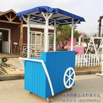 Anti-corrosion wooden carts trolley solid wood milk tea car fruit stall trolley scenic float car mobile snack car