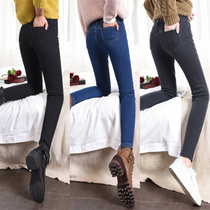 Plus cashmere jeans female Winter 2018 new Korean version was thin and thick stretch tight feet black pencil trousers
