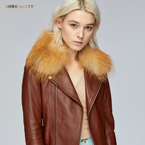 Miss Sixty autumn and winter fur collar zipper slim short leather long sleeve leather jacket women