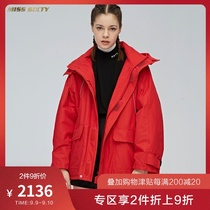 D Miss Sixty new winter red thickened printed hooded jacket cotton jacket female