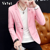 Mens personality suit male Korean version night small suit retro slimming suit handsome top night casual jacket