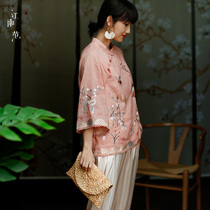 Jiangnan fan cheongsam shirt female cotton cheongsam plate buckle coat female oblique linen hanfu blouse single