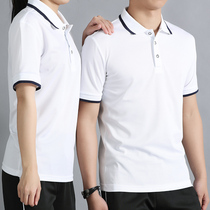 POLO shirt mens and womens short-sleeved 2019 summer student flip-collar t-shirt teen half-sleeve t-shirt white top thin.
