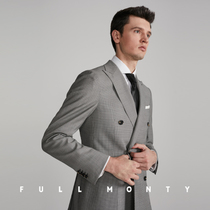 5034de36cc9 FULL MONTY wool double breasted plaid suit single West mens business casual  fashion tops blazer