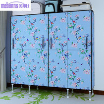 Simple wardrobe full steel cloth wardrobe steel reinforced thickening double home bedroom open door assembly hanging