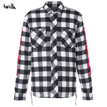 Haculla Hakura European and American Tide brand spring and autumn graffiti long sleeve plaid wool jacket coat mall with
