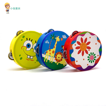 Tambour en cuir Cartoon flower bell drum swing drum sand ball ringboard hand-ringing bell baby child percussion instrument toy