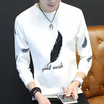 Mens long-sleeved T-shirt autumn and winter mens inner pile bottom shirt top clothes Tide white warm autumn sweater