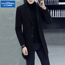 Woolen coat men in the long section of the Korean version slim-fit woolen coat British men 2019 new winter thickening