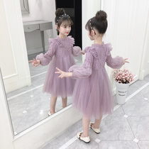 Girls dress autumn 2019 New childrens clothing autumn skirt net Red little girl long-sleeved Princess childrens skirt