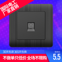 International electrician 86 concealed household black telephone socket panel a wired telephone wall switch socket