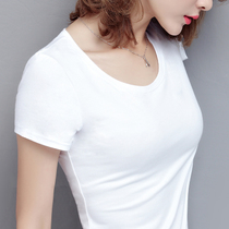 Pure cotton white t-shirt female short-sleeved slim summer women 2019 new tide black tight body clothes 丅 丅