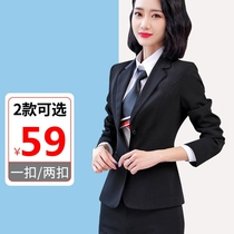 2019 autumn and Winter new suit jacket female interview occupation wear overalls Black large size Suit Suit small suit