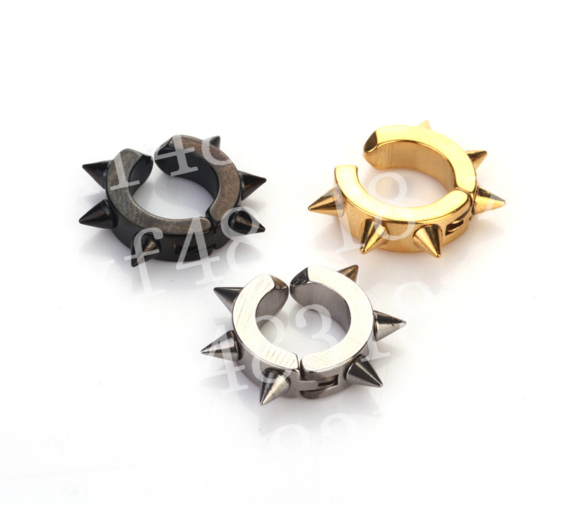 Titanium steel with shrill clip no hole fake no earbud earrings earrings mens ear buckle student stud male.