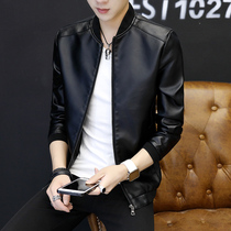 Leather Mens spring plus velvet thick coat Korean version of the trend of casual mens leather jacket spring and autumn new clothes