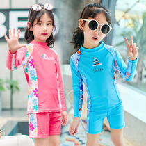 ca2a2257f8 Korean childrens swimsuit boys and girls split long-sleeved sunscreen quick-drying  body diving